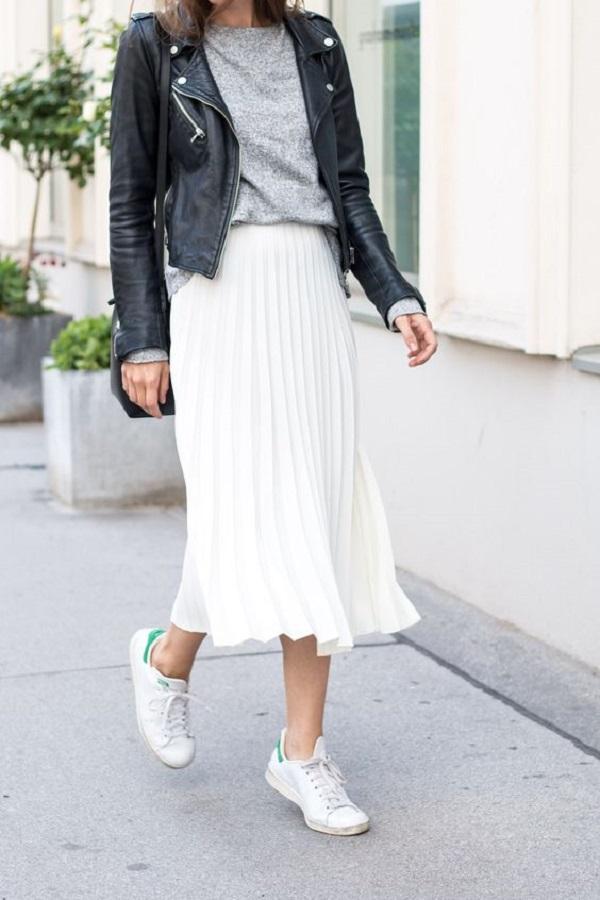 chân váy maxi dài form rộng với áo thun dài hoặc áo len