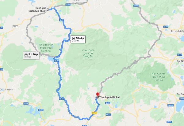 Từ Buôn Mê Thuột đi Đà Lạt bao nhiêu km