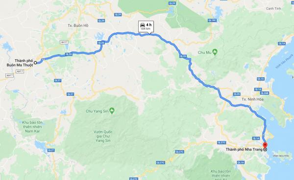Buôn Mê Thuột đi Nha Trang bao nhiêu km?